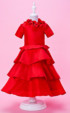 A-line High Neck Tea-length Taffeta Flower Girl Dress With Short Sleeves