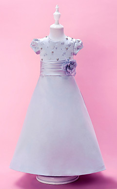 A-line Jewel Neck Floor-length Satin Flower Girl Dress