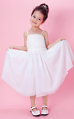 A-line Tea-length Chiffon Flower Girl Dress With Spaghetti Straps
