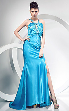 Trumpet/Mermaid V-neck Sweep/Brush Train Elastic Woven Satin Evening Dress