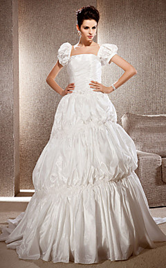 A-line Square Neck Sweep/Brush Train Taffeta Wedding Dress