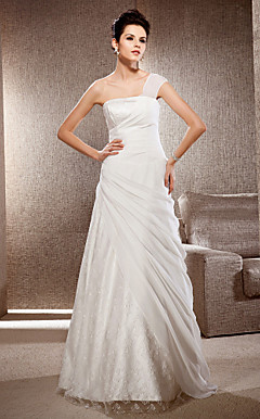 A-line One Shoulder Floor-length Chiffon And Lace Wedding Dress