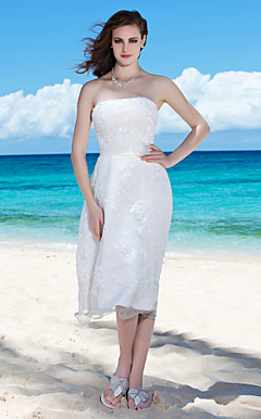 Sheath/Column Strapless Tea-length Wedding Dress with Beaded Appliques