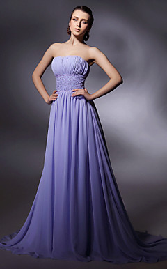 Sheath/Column Sweep/Brush Train Chiffon Evening Dress inspired by Fergie at Golden Globe