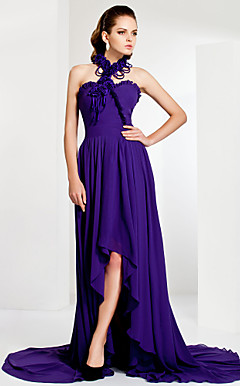 Asymmetrical High Neck Sheath/Column Chiffon Evening Dress