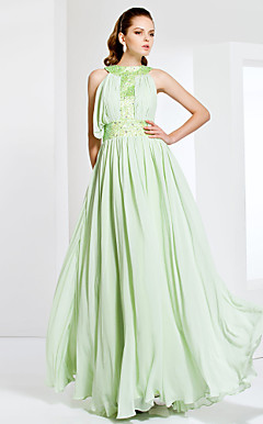 Jewel Neck Floor-length Chiffon Stretch Satin Evening Dress