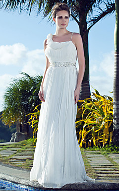 Sheath/ Column Spaghetti Straps Sweep / Brush Train Chiffon Wedding Dress