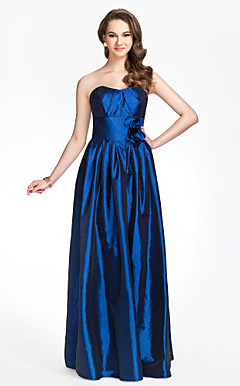 Sweetheart Sheath/Column Floor-length Taffeta Bridesmaid Dress