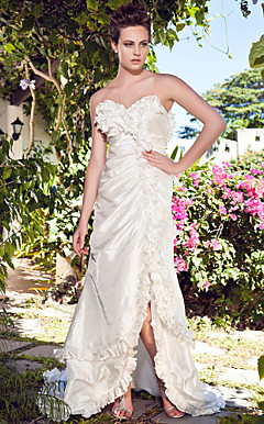 A-line Strapless Sweetheart Asymmetrical Taffeta Wedding Dress With Split Front