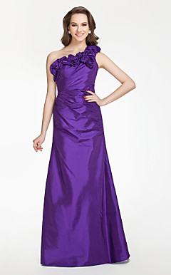 A-line One shoulder Floor-length Taffeta Bridesmaid Dress With Flower(s)