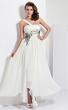 Sheath/Column One Shoulder Asymmetrical  Floor-length Chiffon Evening Dress