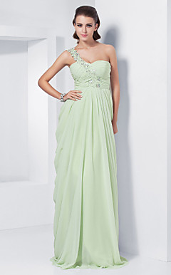 Sheath/Column One Shoulder  Sweetheart Floor-length Chiffon Evening Dress