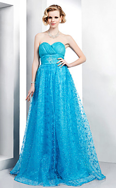 A-line Sweetheart Floor-length Organza And Lace Evening Dress