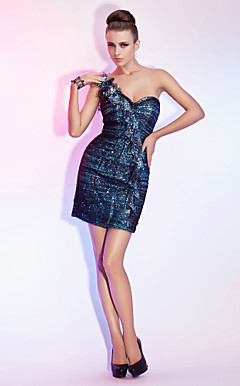 Sheath/Column One Shoulder Short/Mini Tulle And Sequined Cocktail Dress