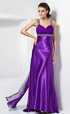 Sheath/ Column Straps Floor-length Chiffon And Stretch Satin Evening Dress