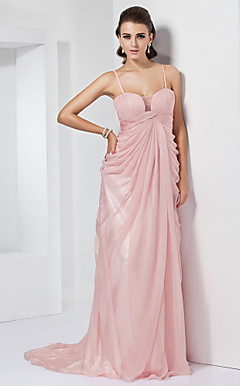 Sheath/Column  Spaghetti Straps Sweep/Brush Train Chiffon Evening Dress
