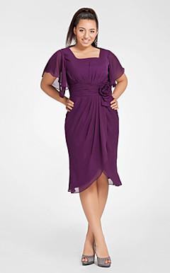 Sheath/Column Square Short Sleeve Knee-length Chiffon Cocktail Dress
