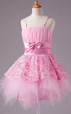 A-line Spaghetti Straps Knee-length Satin Bow Sleeveless Flower Girl Dress