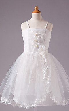 Ball Gown Spaghetti Straps Knee-length Satin Tull Sleeveless Flower Girl Dress