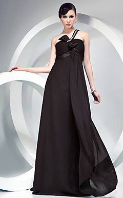 Sheath/ Column One Shoulder Floor-length Chiffon Over Stretch Satin Evening Dress