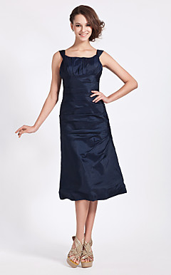 A-line Off-the-shoulder Tea-length Taffeta Bridesmaid/ Wedding Party Dress