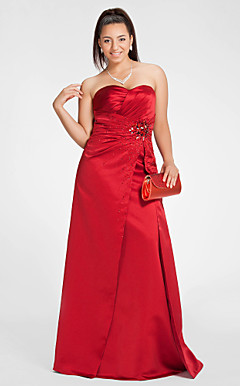 Sheath/Column Sweetheart Floor-length Satin Evening Dress