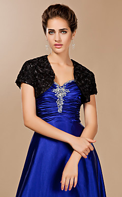 100% Handmade Lace With Satin and Sequined Flowers Short Sleeve Special Occasion Jacket / Wrap