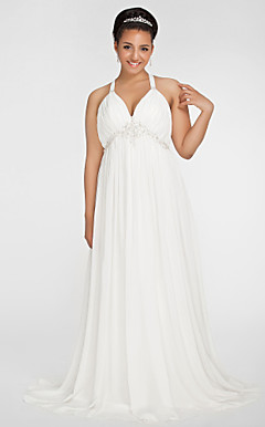 Sheath/Column V-neck Sweep/Brush Train Chiffon Plus Size Wedding Dress