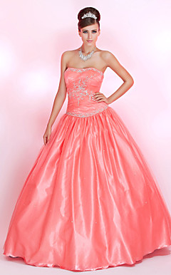 Ball Gown Sweetheart Floor-length Tulle Prom Dress With Embroidery