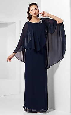 schede / column scoop vloer-length chiffon avondjurk