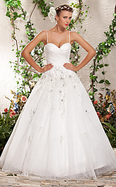 Ball Gown Spaghetti Straps Sweetheart Floor-length Tulle Wedding Dress