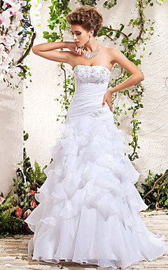 A-line Strapless Floor-length Appliques Side-Draped Tiered Wedding Dress