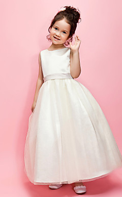 A-line/Ball Gown Jewel Ankle-length Satin Flower Girl Dress With Ribbon And Bow