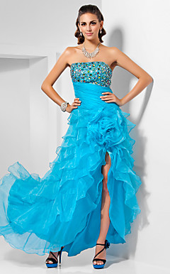 A-line Strapless Asymmetrical Organza Evening Dress