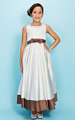 A-line Square Ankle-length Satin Junior Bridesmaid Dress