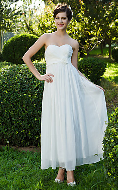 Sheath/Column Sweetheart Ankle-length Chiffon Wedding Dress