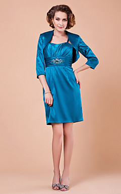 Sheath/Column Sweetheart 3/4 Length Sleeve Knee-length Elastic Woven Satin Mother of the Bride Dress With A Wrap