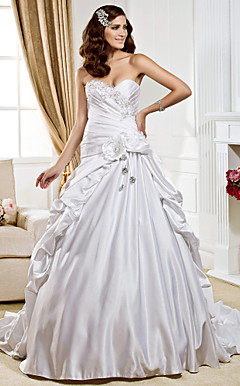 Ball Gown Sweetheart Chapel Train Satin  Wedding Dress