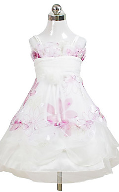 Lovely Ball Gown Spaghetti Straps Tea-length Satin Organza Flower Girl Dress