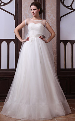 A-line Sweetheart Tulle Wedding Dress With Watteau Train