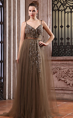 A-line V-neck Watteau Train Tulle Over Chiffon Luxurious Dresses