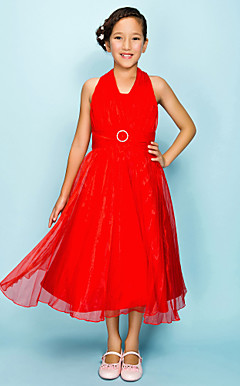 A-line Halter Tea-length Organza Junior Bridesmaid Dress