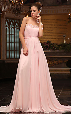 A-line Strapless Sweep Brush Train Chiffon And Satin Chiffon Luxurious Dresses