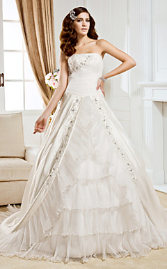Ball Gown Strapless Chapel Train Satin And Organza Wedding Dress