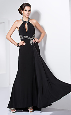 Trumpet/Mermaid Jewel Floor-length Knitwear Beading Evening Dress