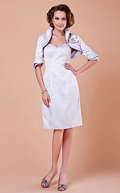 Sheath/Column Sweetheart Half Sleeve Knee-length Satin Mother of the Bride Dress With A Wrap