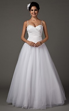 A-line Sweetheart Spaghetti Straps Floor-length Taffeta Wedding Dress