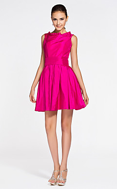 A-line Bateau Short/ Mini Taffeta Bridesmaid Dress
