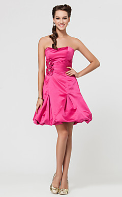 A-line Sweetheart Strapless Short/Mini Satin Bridesmaid Dress With Side Draping