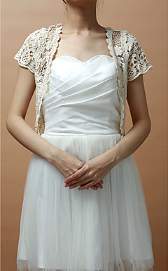 Short Sleeve Lace Daily Wear Jacket With Trim